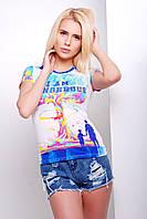 Яркая женская футболка с принтом Взрыв