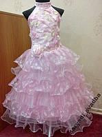 Нежное розовое детское платье из гипюра на 4-6 лет