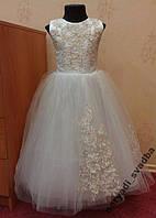 Шикарное бело-золотое детское платье на 4-6 лет