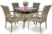 Комплект  LUGA / RAMINI GREY  стол 80X80см +4 кресла