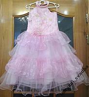 Нежное розовое детское платье из гипюра на 2-4 года