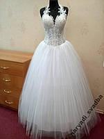Необычное новое свадебное платье с прозрачным лифом, размер 42-48