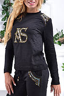 Батальный брендовый гламурный спортивный костюм Турция S M L XL XXL (с 42 до 54) чёрный, фото 1