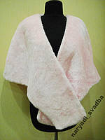 Теплая накидка нежно-розового цвета, искусственный мех