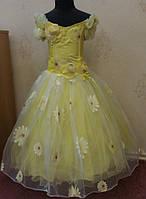 Пышное солнечно-желтое детское платье на 6-8 лет