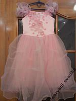 Нежное розовое детское платье Swarovski на 4-7 лет