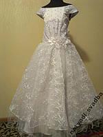 Нежное белое гипюровое детское платье на 7-10 лет