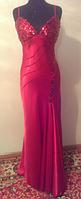 Узкое красное вечернее платье с пайетками, р. 46