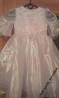 Необычное блестящее белое детское платье на 2-3 г.