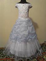 NEW! Блестящее бело-голубое детское платье на 7-12 лет