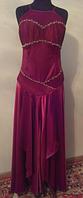 Узкое бордово-золотистое вечернее платье, р. 46-48
