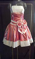 Яркое красное с белым коктейльное платье, р. 40-42