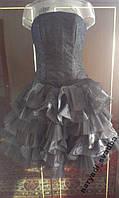 V.71 Черное платье с гипюром и оборками, размер 44