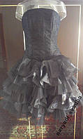 Черное платье с гипюром и оборками, р. 40-44