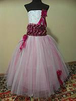 NEW! Шикарное бело-малиновое детское платье на 4-6 лет