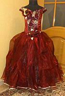 Пышное бордово-золотое детское платье на 7-10 лет