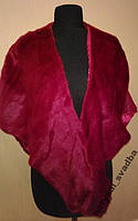 Теплая накидка бордово-малинового цвета, искусственный мех