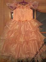 Нежное персиковое детское платье на 4-7 лет