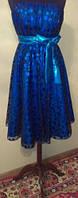 Синее платье в горошек с завышенной талией, р. 48