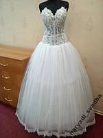 Новое белое свадебное платье с лифом из прозрачного гипюра, размер 42-46