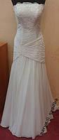 Нежнейшее белое свадебное платье-русалка, размер 42-46 (б/у)