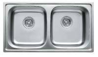 Мойка кухонная врезная 7848 Platinum сатин (матовая) с двумя чашами 0,8 мм глубина 18 см