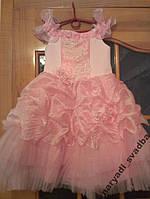 Пышное розовое детское платье с цветами на 3-5 лет