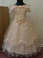 Блестящее персиковое детское платье на 6-8 лет