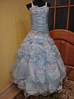 Шикарное голубое детское платье на 7-10 лет