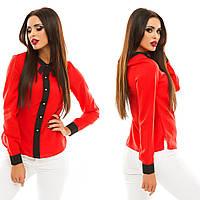 """Легкая шифоновая блуза """"Karina"""" с воротничком и длинным рукавом (4 цвета)"""