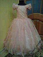 NEW! Блестящее персиковое детское платье на 5-8 лет