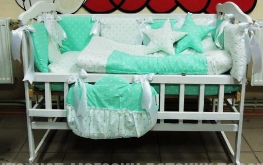 Комплект детского постельного белья в кроватку бело-салатовый в горошек Bonna Elite