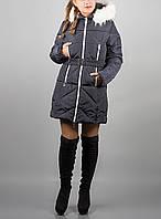 """Длинная женская зимняя куртка """"Дорин Найт"""" с белым мехом"""