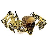 Паук подвесной с человеческим черепом - декорация на хеллоуин!