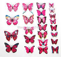 Декоративные 3D бабочки на магнитах,наклейки на стену Розовый цвет 12 шт, фото 1