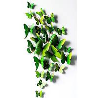 Декоративные 3D бабочки на магнитах,наклейки на стену Зеленый цвет 12 шт