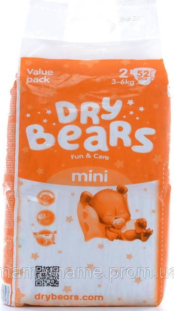 Dry Bears Fun&care Подгузники 2 mini (3-6кг),52 шт