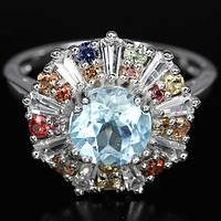 Топаз голубой и цветные сапфиры, серебро 925, кольцо