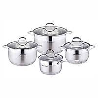 Набор посуды Kamille из нержавеющей стали 8 предметов (ковш 1.8л; кастрюли 2.3л, 3.3л, 5.5л)
