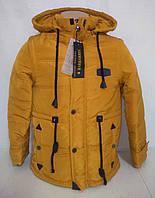 Куртка парка трансформер демисезонная (цвет горчичный) р. 140