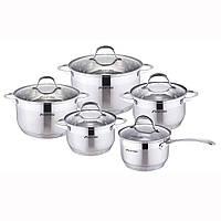 Набор посуды Kamille из нержавеющей стали 10 предметов (ковш 1.8л; кастрюли 1.8л, 2.3л, 3.3л, 5.5л)