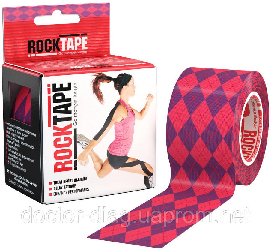 RockTape Кинезио тейп RockTape Designe 5см х 5м (pink argyle)