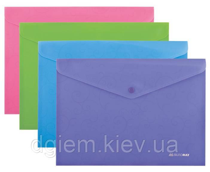Папка-конверт на кнопке А4 BAROCCO непрозр. матовый пластик