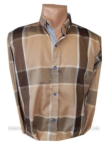 Рубашка мужская длинный рукав широкая клетка