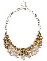 Колье Листья шампани/бижутерия/цвет цепочки золото/цвет искусственных камней желтый и белый