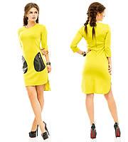 Женское платье с кармашками из эко кожи
