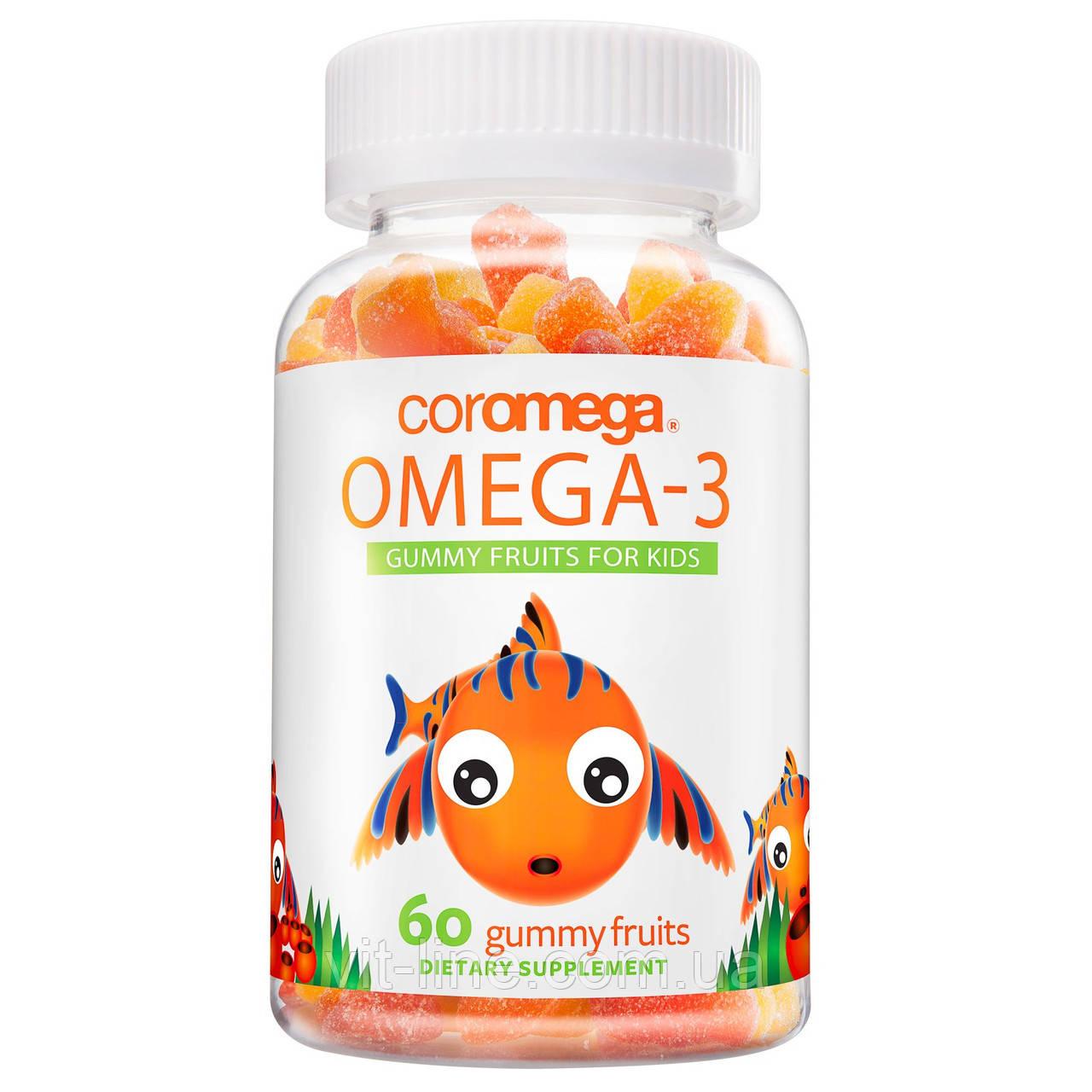 Coromega, Омега-3, фруктовые жевательные таблетки для детей, апельсин, лимон, клубника,60 жевательных таблеток