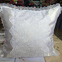 Нарядная белая кружевная свадебная наволочка
