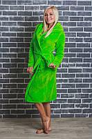 Женский махровый халат на запах салат, фото 1