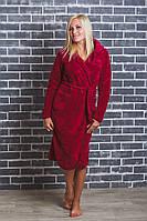 Женский махровый халат на запах бордо, фото 1